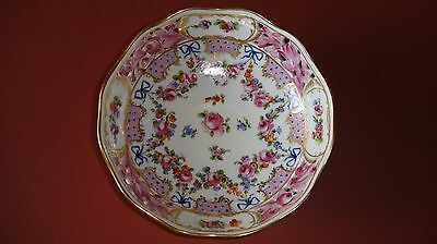 ANTIQUE DATED 18THc DRESDEN GERMAN PORCELAIN PERFORATED HAND PAINTED 4 LEGS BOWL