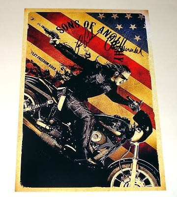 """Sons Of Anarchy Cast X2 Pp Signed Poster 12""""x8"""" Charlie Hunnam 2 Soa"""