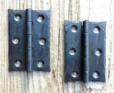 "2 Handmade Butt Door Hinges 2.5"" Wrought Iron Antique Cabinet Cupboard Box Trunk"