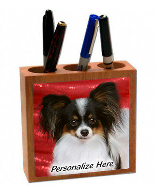 Papillion    tri color   ( 20 )   Personalized  Pencil and Pen Holder