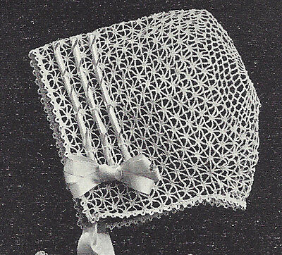 Vintage Crochet PATTERN to make Baby Summer Bonnet Hat Cap Light Airy 1921Summer