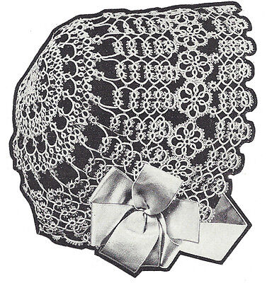 Vintage Tatting Crochet PATTERN to make Antique Baby Bonnet Hat Cap 1921TattedCB