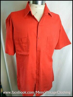 Vintage 60s 70s 'Gloweave' Bright Red Short Sleeve Poly/Cotton Shirt  41-42cm L