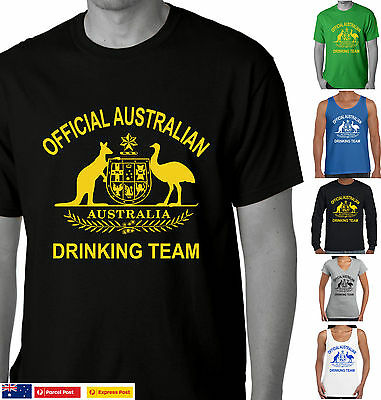 Official Australian drinking Team Funny T-shirts Party Aussie Straya day tee