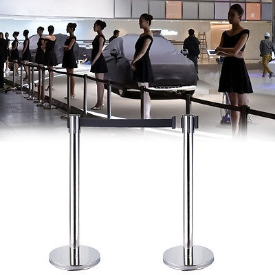 2pcs Retractable Stanchions Crowd Control Black Belt Posts Queue Barrier Exhibit