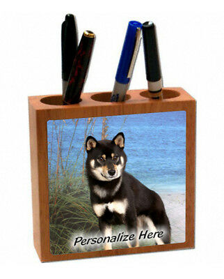 Shiba Inu     black color   ( 8 )  Personalized Pencil and Pen Holder