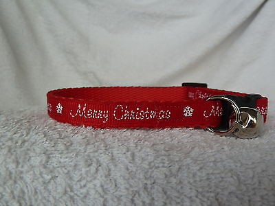 Red Merry Christmas Cat Kitten Safety Collar 10mm or 13mm Wide Xmas