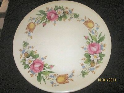Paden City Pottery  Plate  Floral Design- Roses, Tulips & Daisies VTG
