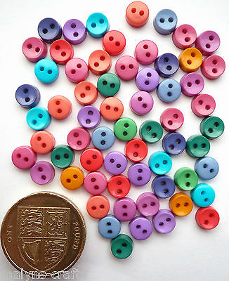 GEMTONE  6mm Craft Buttons Sewing Mini Baby Small Dolls Bright Tiny Clothes Mix