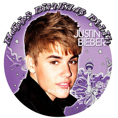 JUSTIN BIEBER Round Edible Birthday CAKE Image Icing Topper Party Decoration