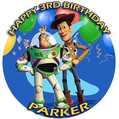 TOY STORY Round Edible Photo CAKE Topper ICING Image Buzz & Woody FREE SHIPPING