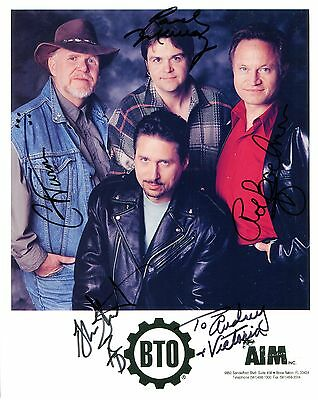 BACHMAN TURNER OVERDRIVE BTO HAND SIGNED 8x10 GROUP PHOTO+COA      MUSIC LEGENDS