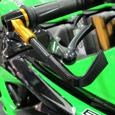 Motorcycle Moto GP Lever Guard Protectors Front Brake Clutch Black Gold Pair
