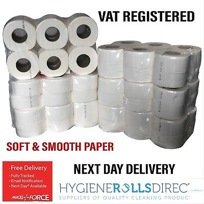 72 (6 packs) x Quality Mini Jumbo Toilet Rolls Tissue Paper 76mm core