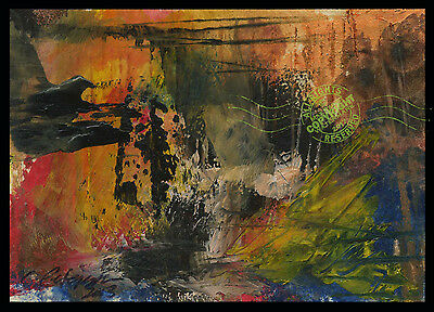 Devil's Cave 2013 : ACEO Fine Art Oil Painting ABSTRACT : Original Signed