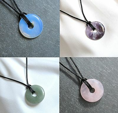 Small Round Semi Precious DONUT BEAD PENDANT & Cord Necklace - Choice of Stones