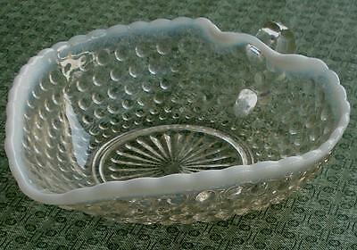 Anchor Hocking Moonstone Opalescent Hobnail Small Handled Heart Bowl, VG COND