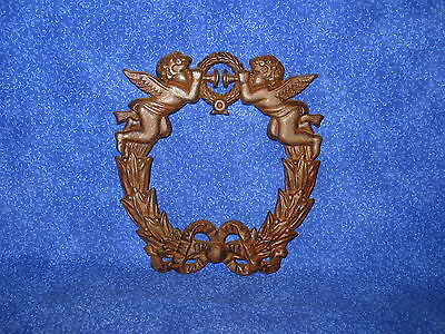 Antique Wall Mount Plaque Angels Cherubs Trumpet Ribbon Wreath Large Cast Iron