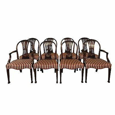 Set of 8 Georgian style mahogany dining chairs, wide seats-c1900-UK delivery £95