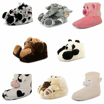 Womens Ladies Novelty Animal Slippers Gift Warm Comfy Fur Girls Shoes Size UK