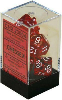 SET 7 DADI TRASPARENTI ROSSI GIOCO RUOLO D&D Dungeons & Dragons DICE RED CHESSEX