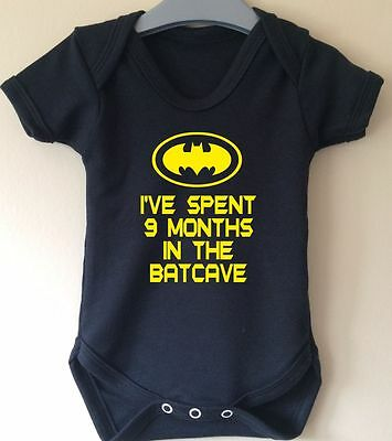 I've Spent 9 Months In The Batcave Batman Inspired Baby Body Suit Vest Gift