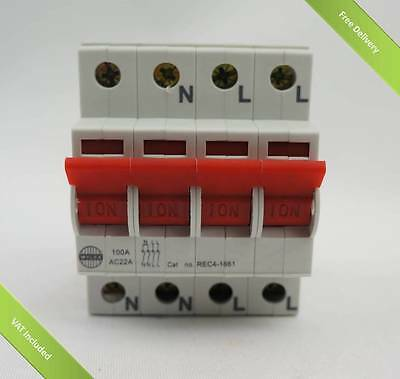 Wylex 4 pole isolator Mains Switch REC4-1661 100A 4 Pole isolator Switch only