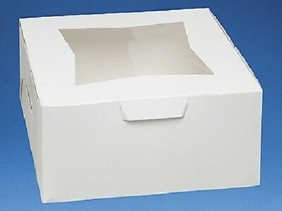 Pack of 10 WHITE 10x10x5 Window Bakery or Cake Box