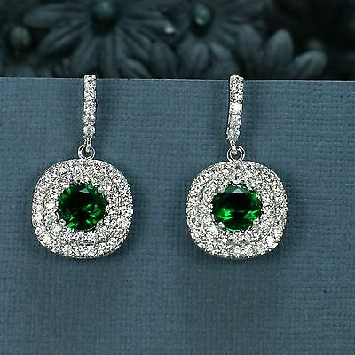 Unique 18K White Gold Plated Round Green Emerald CZ Stud Wedding Earrings