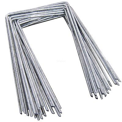 100 Steel Metal Ground Pegs Pins Staples for Weed Control Fabric Membrane Cover