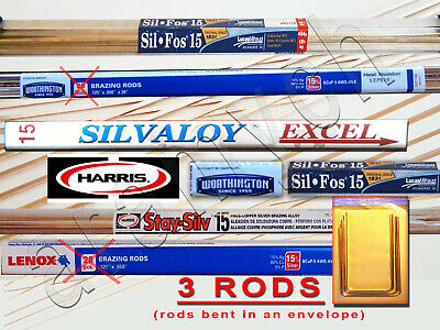 15% Silver Brazing Rods 3 RODS Worthington, Harris Stay-Silv, Sil-Fos, Lenox ...