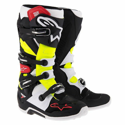 Alpinestars NEW 2017 Mx Tech 7 Dirt Bike Red Black Fluro Yellow Motocross Boots