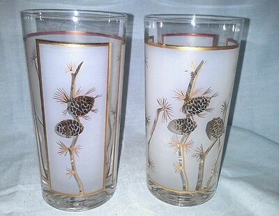 1960s Libbey Pine Cones Frosted Gold 2 flat tumbler glasses Vintage  10 ounces
