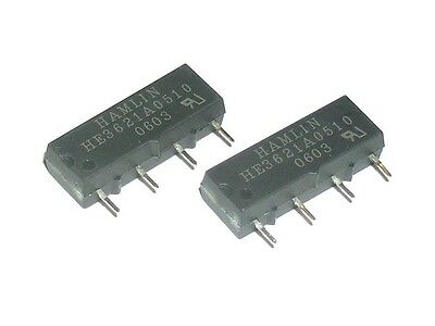 [2 pcs] HAMLIN HE3621A0510 Signal Reed Relay SIL SPST-NO  Coil Voltage 5V