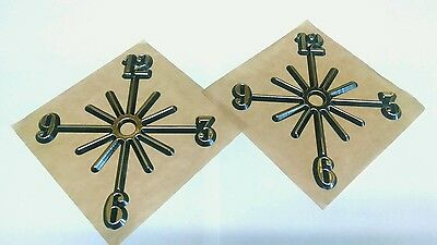 """2 Partial Starburst dial numbers. 5"""" self adhesive, hot-stamped gold. USA made"""