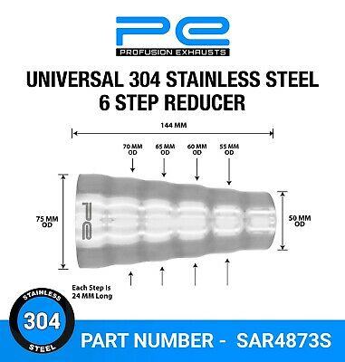 Universal 304 Stainless Steel Exhaust 6 step reducer adapter connector pipe cone