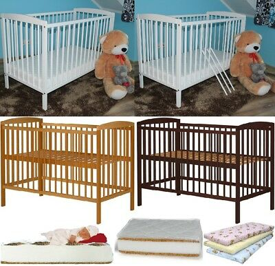 Jasper Baby Cot Solid Wood 3 Colours + Optional Mattress