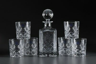 24%Lead Crystal Clear Whisky Set of 7-Decanter & Glasses w/Hand Craft Cut