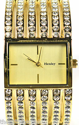 Henley Ladies Gold Tone Bangle Watch Cut Out Detail with Sparkling Real Crystals