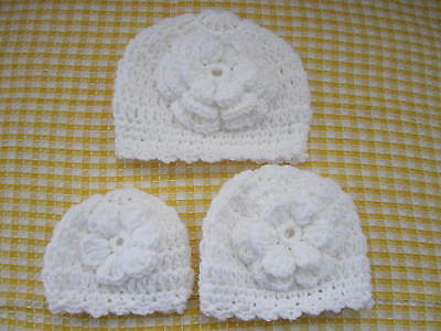1-CROCHETED BABY HAT CHOICE OF FOUR SIZES, MICRO, PREEMIE, NEWBORN, 3 to 6 mo.