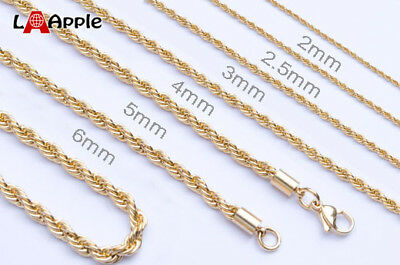 """18""""-36""""Mens Womens Stainless Steel necklace Chain 2mm 3mm 4mm 5mm 24K Gold plate"""