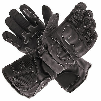 New Polar Force Waterproof Thermal Black Leather Motorcycle Gloves Large L