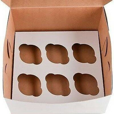 10 Cupcake Box holds 6 each WHITE 10x10x4 Bakery/Cake Box and Inserts for 60