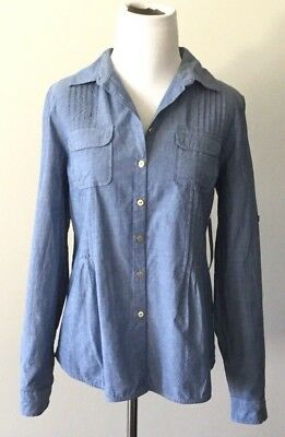 da0732a5 NEW Tommy Hilfiger Womens Shirt Chambray blue Long sleeve button down 79$