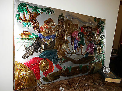 Amazing Large Hammered Metal Relief Antique Painting Garden Scene Mid Century