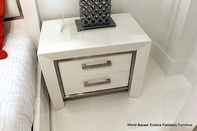 """28"""" W Nightstand Side table High gloss white wood 2 drawers Contemporary"""