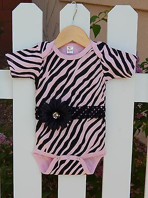 PiNk ZeBrA ONESIE BODYSUIT boutique INFANT GIRLS 12-18 months.  SO CUTE!!