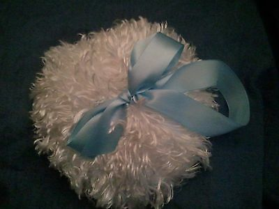soft body powder puff, 4 inches, shaggy with loop handle/hanger