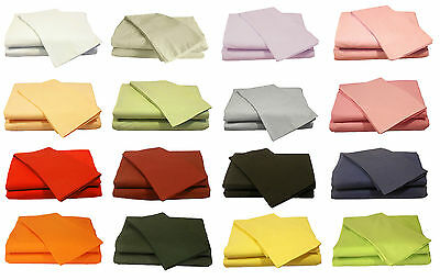 Plain Dyed Fitted Sheet Polycotton Bed Sheet Single Double King and Pillowcases
