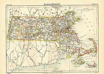 1883 Color Map of MASSACHUETTS - The Bay State
